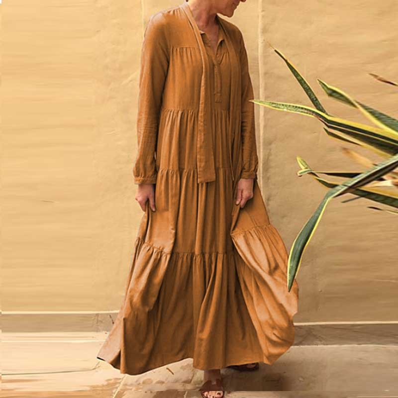 Bohemian Chic Elegant Ruffle Maxi Boho Anthropologie Dress Cindy