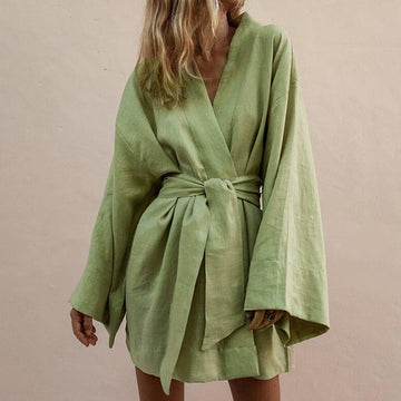 Flare Wrap Loose Casual Baggy Sundress V Neck Long Sleeve Kimono Cardigan