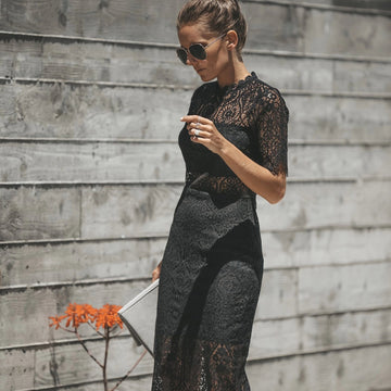 Black Lace Crochet Long Anthropologie Maxi Pencil Dress Ladies Party Summer