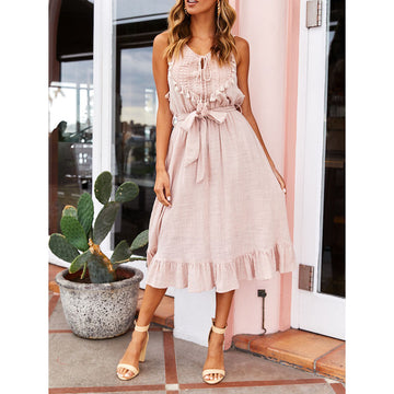 Fall Autumn sleeveless lace up bandage ribbon party beach Dress