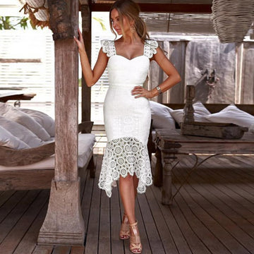 Elegant White Crochet Lace Fall Dress Sleeveless Hollow Out Bohemian Love Autumn Dress
