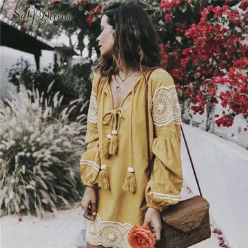 Embroidery Dress Cotton Long Sleeve Lace Up Embroidered Short Vintage Tassel Yellow Dress
