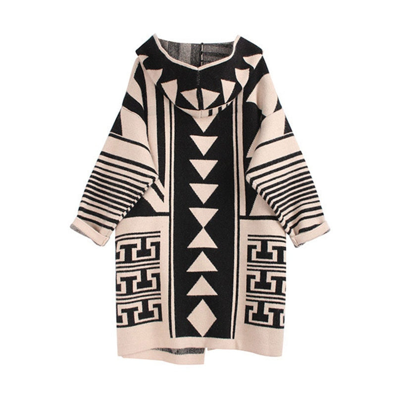 Print Patchwork Hooded Cardigan Coat New Loose Long Sweater Jacket