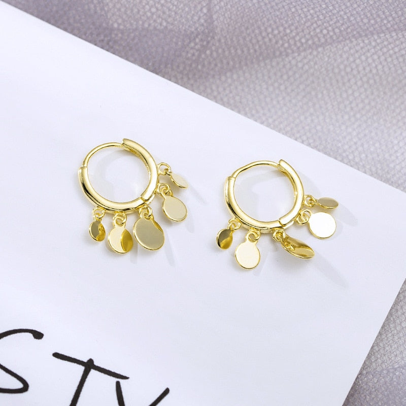 Sterling Silver Five Round Circle Pendant Ear Piercing Ear Ring Earings Gold Color
