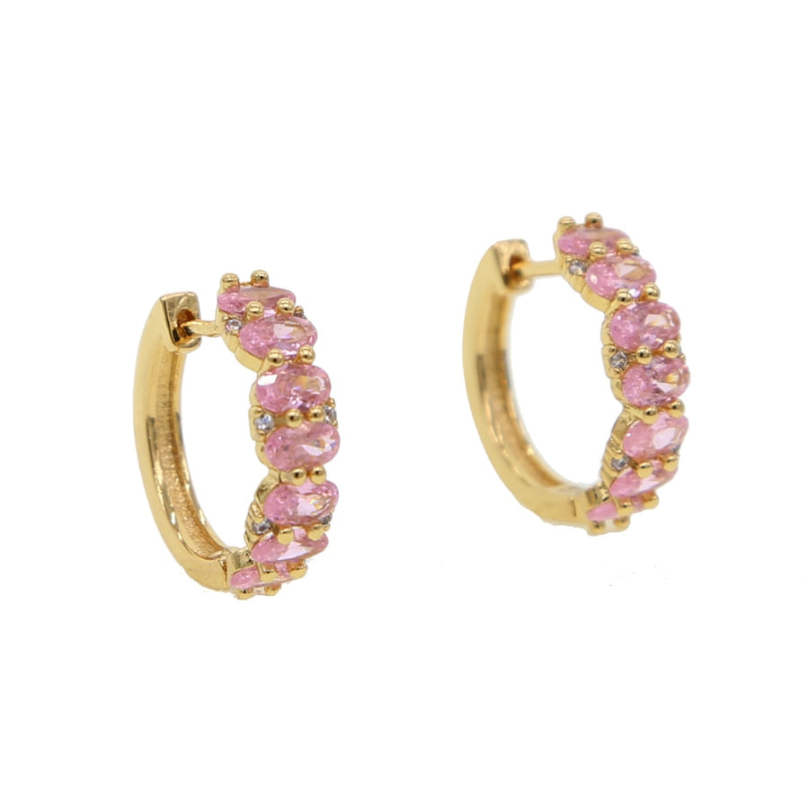 Gold color middle sized hoop oval pink cubic zirconia