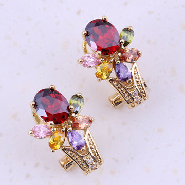 Splendid Multicolor Imitation Multigem Yellow Gold Color Huggie Earrings Bergdorf Goodman Neiman Marcus