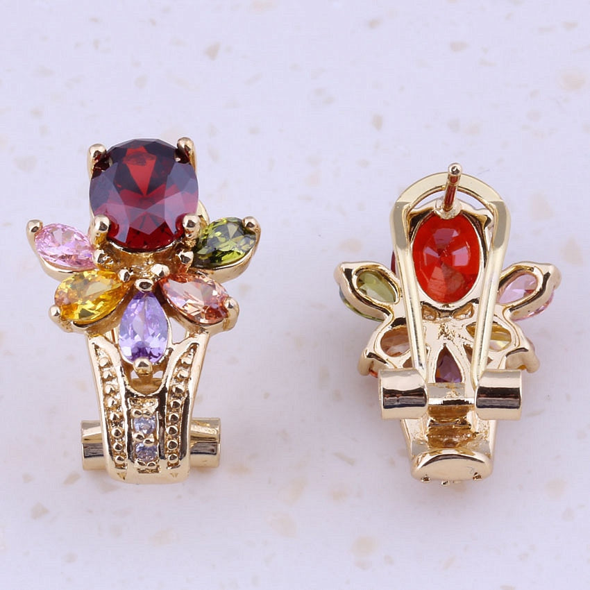 Splendid Multicolor Imitation Multigem Yellow Gold Color Huggie Earrings