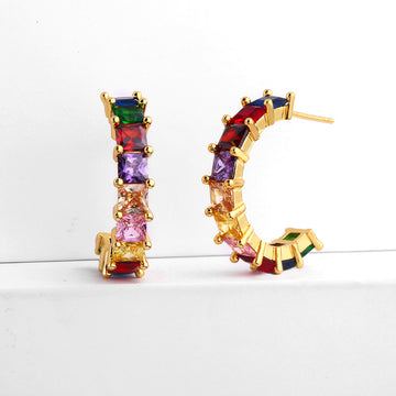 Cubic Zirconia Baguette Rainbow Hoop Earrings Girl Multi-color Baguette Hoops