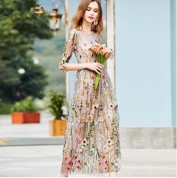 Embroidery Party Dresses Runway Floral Bohemian Flower 2 Pieces Vintage Boho Mesh Dresses For Women