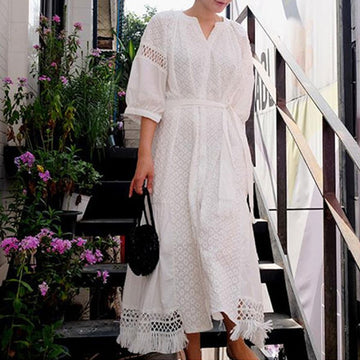 White Cotton Lace Embroidery Boho Dress  Lantern Sleeve Dress