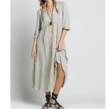 MOMO Free People Embroidered Kaftan Kimono Dress