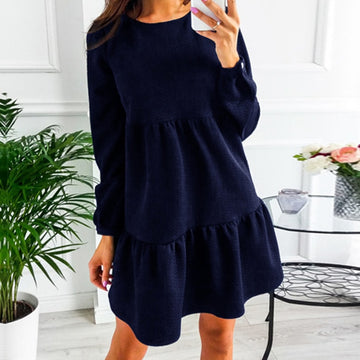 Autumn Elegant Solid Mini Dress Long Sleeve Ruffles Robe