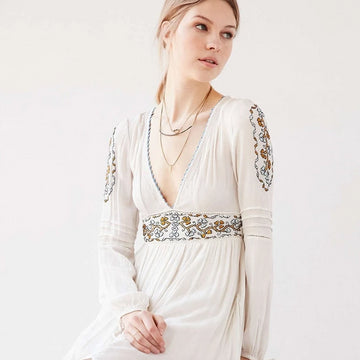 Bohemian style embroidery maxi long dress boho hippie white long fall dress