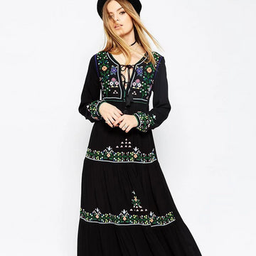 Bohemian Embroidery Long Dress Fall  Floral Pattern Black Fall Maxi Dress