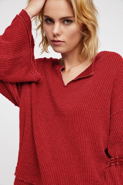 Loose shirts fall season knit cotton t shirt patchwork flare sleeve boho autumn top