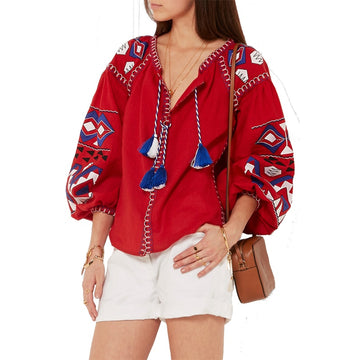 Floral Embroidered Mexican Blouse Top Autumn Long Sleeve with Tassel  Hippie Boho Chic Style Cotton Ethnic Womens Shirts