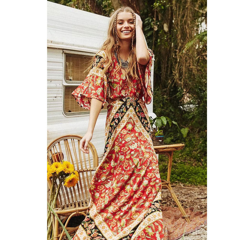 Split Boho Backless Female Long Floral Printed Sexy Chic Beach Dresses Vestidos