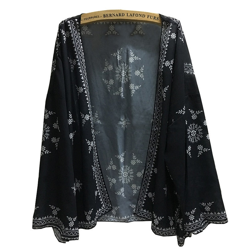 Chiffon blouse Beach Sarongs Cover Up Cardigan long Batwing sleeve black print Kimono top boho chic