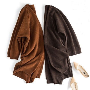 Long cardigan sweater coat caramel