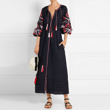 Ethnic Black Floral Embroidery boho dress vintage long Sleeve long dresses Casual loose cotton