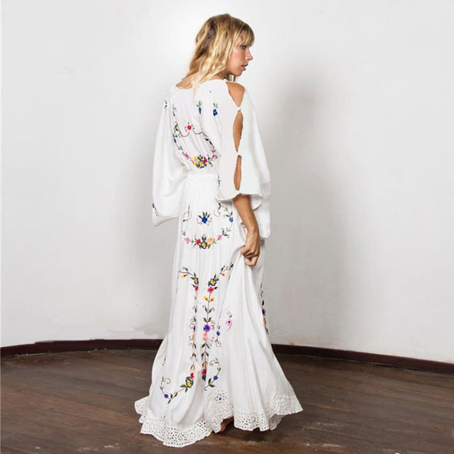 Flower Multi Embroidery Palace style Elegant White Casual Loose Gown Maxi Chic Hippie Dresses
