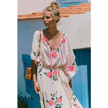 Beach Long Gown Floral Embroidery Long Dress Loose kimono Tunic Sashes Boho Chic