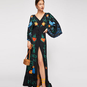 Floral Embroidered Women Maxi Dress V-Neck Batwing Sleeve Loose Spring Drawstring Waist Boho Beach