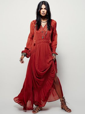 Vintage party dress fall boho embroidery Bohemian split maxi dress