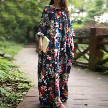 Autumn Casual loose Long Sleeve Floral dresses boho style Cotton linen Dress