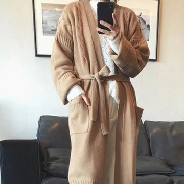 Pure cashmere sweater cardigan belt cardigan coat