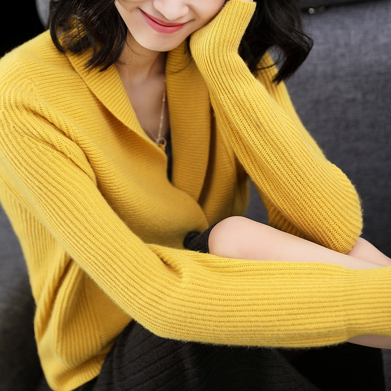 Cardigan Knitwear Solid Shawl Neck