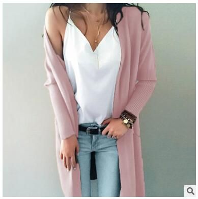 Knitted long sleeve long sweater cardigan for overcoat outwear