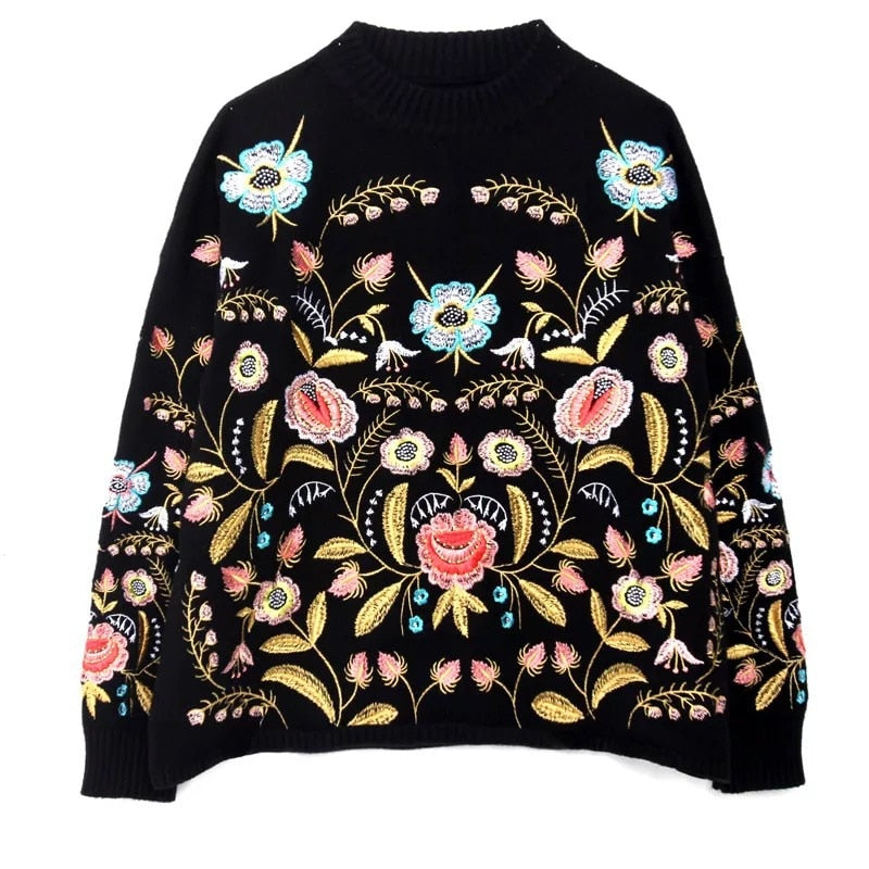 Hippie Boho Ethnic Retro Jumpers Ladies Top Embroidery Floral Long Sleeve Sweater Pullover