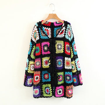 Boho Blouse Hollow-out Sweater Jumper Fashion Casual Pierced Pullover  Knitwear