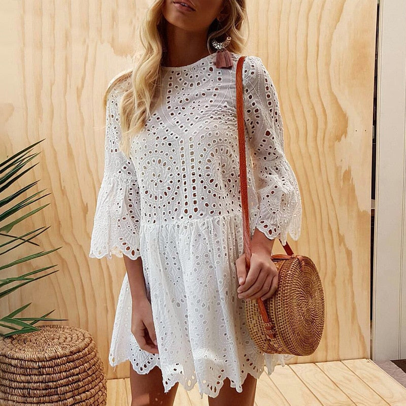 White Pink Ruffle Cut Out Lace Dress