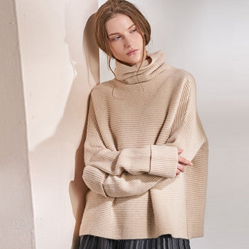 Cashmere Sweater Women Simple Loose Design Turteneck Long Sleeves