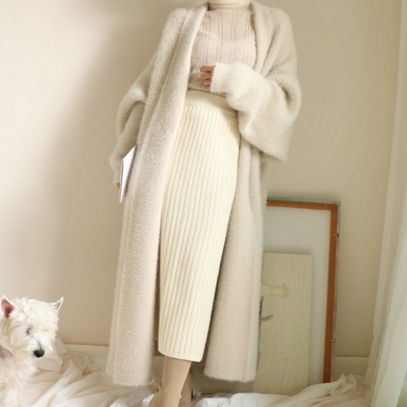 Real Mink Cashmere Long Coat Genuine Mink Sweater Warm