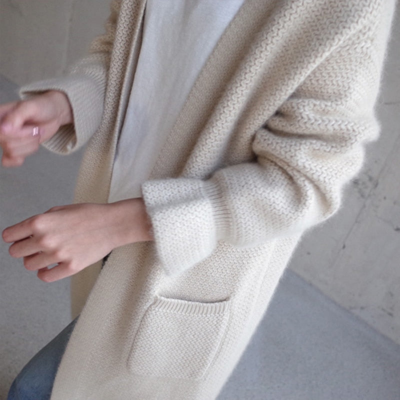 Long loose sweater coat sleeve coarse needle size thick knit cardigan