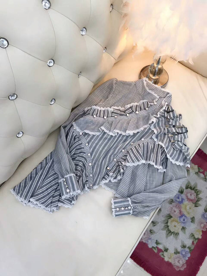 Elegant lace embroidery shirt striped cotton shirt ruffles sleeves loose irregular shirts
