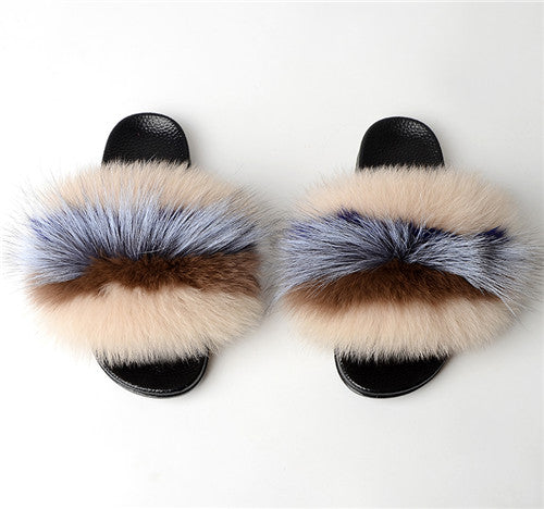 Fall Fox Fur Slippers Autumn Fall Flip Flops
