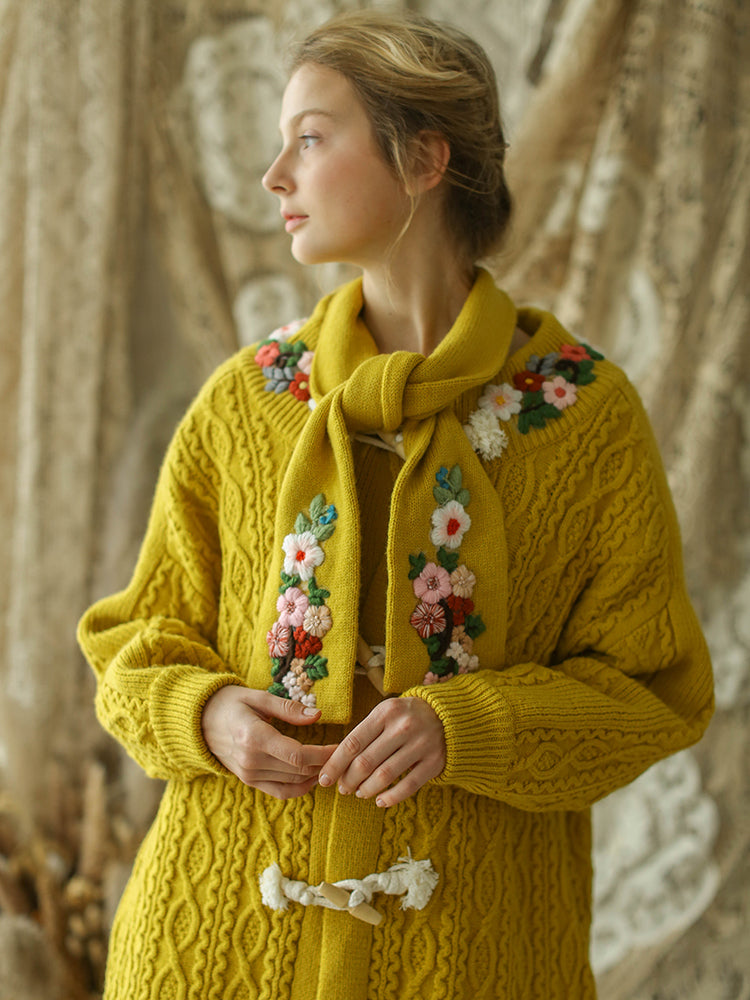 Vintage Embroidery Long Scarf Knitted Sweater Cardigans