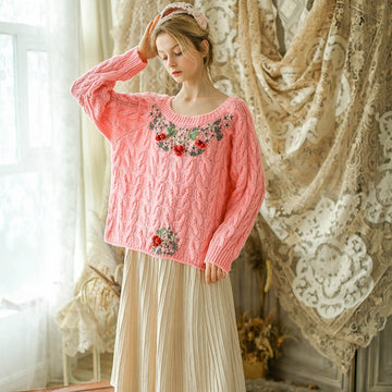 Boho Chic Embroidery Pink Knitted Pullover Sweater Uma