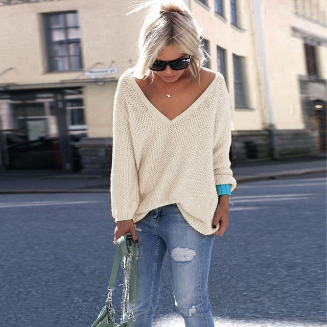 Plus Sizer Knitting Casual Long Sleeve Solid