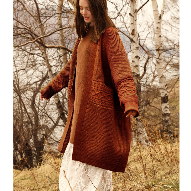 Preppy Style Solid Loose Patchwork Vintage Female Sweater Knitted Coat