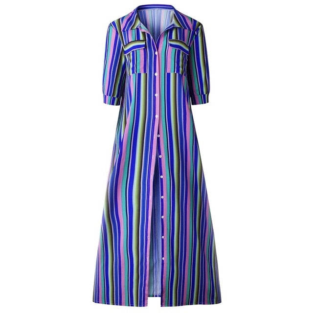 Short Sleeve Boho Striped Casual Long Dress  Elegant Streetwear Loose Sexy Black Shirt Dresses