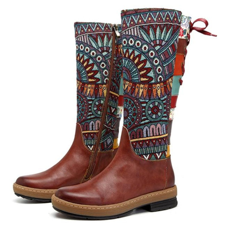 Handmade Genuine Leather Women's Boots Boho Warm Middle Boots