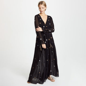 Boho Star Embroidery Maxi Dress Elegant Beach Hippie Retro Long Dress