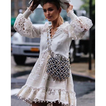 Summer Women White Lace Dress Long Sleeve Elegant Lace Crochet Boho Short Beach Dress