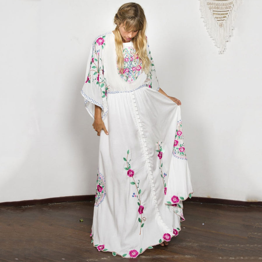 Boho Chic Embroidered Dress Batwing Sleeve Loose  Beach Maxi Dress