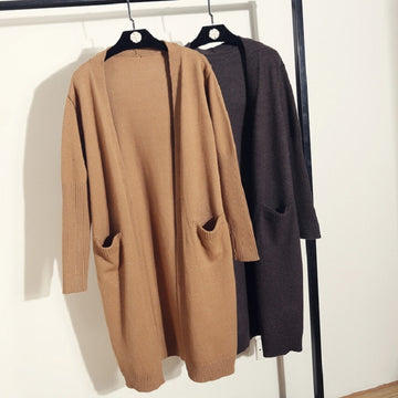 Wool Cardigan Sweater Casual Coat Long Loose Sleeve Open Stitch